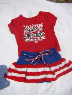 Patriotic wool skirtie with attached soaker