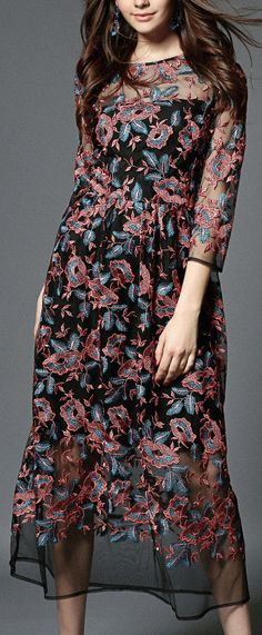 Long Floral Embroidered Mesh Dress