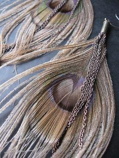 Bleached Peacock Earrings