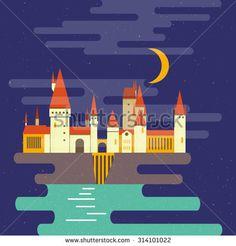 Cartoon castle isolated vector illustration. School in moonlight. Modern flat style.