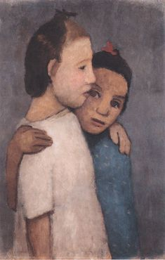 Zwei mädchen in weißem und blauen kleid (Two Girls in White and Blue Dresses), 1906 by Paula Modersohn-Becker on Curiator, the world's biggest collaborative art collection. Painting People, Painting For Kids, Figure Painting, Painting & Drawing, Children Painting, Paula Modersohn Becker, Portrait Art, Portraits, Portrait Poses