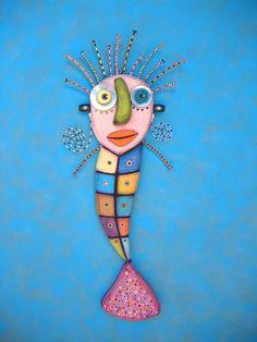 Mosaic Mermaid Found Object Wall Sculpture Wood by FigJamStudio