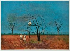 2 works: CHILD ON A DONKEY, 1981; CONTROVERSY UNDER THE PERSIMMON TREE By Carroll Cloar