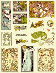 Fairy Medusa Queen Magical Goddess Fantasy Art Nouveau style artwork rubber stamp set from www.TheEnchantedGallery.com