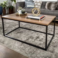 A minimalist box frame-style coffee table that's everywhere right now — but much, much cheaper here. Coffee Table Rectangle, Cool Coffee Tables, Decorating Coffee Tables, Living Room Furniture, Home Furniture, Modern Furniture, Living Room Decor, Rustic Furniture, Antique Furniture