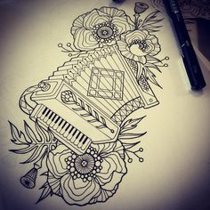 S accordion art Music Drawings, Doodle Drawings, Ideas Collage, Tattoo Tradicional, Tatto Old, Life Tattoos, Tatoos, Doodle Tattoo, Dog Snacks