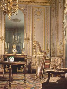 The Rooms of Marie Antoinette. A hall for the music in perfect Louis XVI style, built for Maria Antonietta. She used to meet her friends in this hall, where she enjoyed playing the harp.