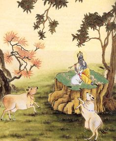 .Cows dancing for Krsna.