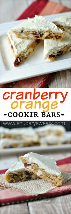 Cranberry Orange Cookie Bars: delicious, chewy cookie bars with dried cranberries, a hint of orange, and frosting!