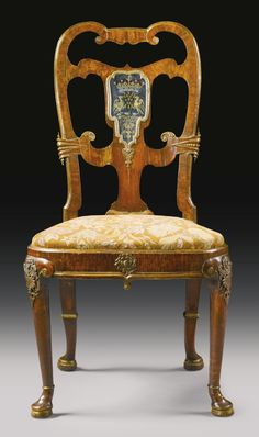 Wow !  Superb  in every way ! An important George II gilt-lead-mounted and verre églomisé-mounted parcel-gilt walnut side chair possibly by Thomas How Circa 1728