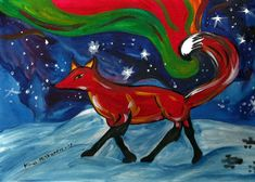 Birth of lights Fire Fox ACEO Art Print Animal Art Print Acrylic Painting Fox ACEO Acrylic Painting Art Print Fox illustration Watercolor Animals, Watercolor Paper, Fox Illustration, Art Illustrations, Artist Card, Mythology, Fantasy Art, Moose Art, Art Prints