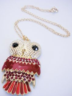 Red & Gold Owl Necklace