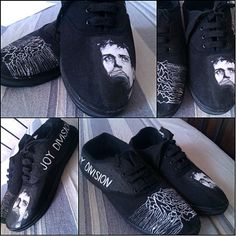 Personalized handpainted shoes Joy Division Fanart by MadCandies