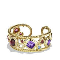 Mosaic Cuff with Rhodolite Garnet and Diamonds in Gold