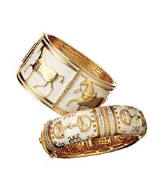 2 Equestrian-inspired bracelets for a variety of budgets... Lauren G. Adams Gold-Plated Enameled Bangle for $230 and bargain version from Shop Suey Boutique Metal for only $38! Quick holiday shopping for friend or treasured spouse!