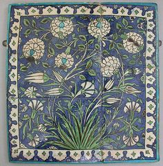 Tile Panel     second half 16th century  Geography:    Syria