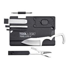 Tool Logic SC2SB Credit Card Companion Card Tool 1-Inch Blade, LED Light and Scissors, Black, (multitools, small but useful, multi-tool, swiss army card, wallet, survival, emergency kit, accessories, tool, gadget)