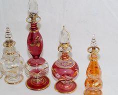 Vintage Etched glass perfume bottles - 5pcs