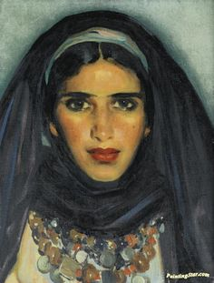 Portrait Of A Young Moroccan Girl Artwork by José Cruz Herrera Hand-painted and Art Prints on canvas for sale,you can custom the size and frame