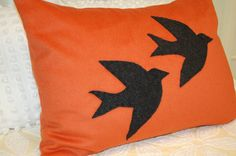 Woolen Flying Black Birds on Orange Skies Wool Throw Pillow Shabby Chic Handmade Upcycled Vintage Blanket 18 x 26 INCH
