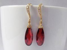 ruby red earrings gold and red earrings red prom earrings red wedding earrings…