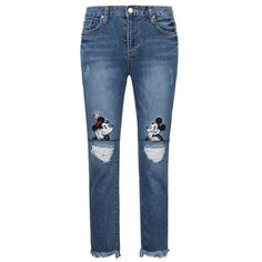 426f87611c Disney Mickey Minnie Mouse Vintage Distressed Washed Stretch Denim Jean  Pants
