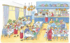 Praatplaat Bas - Pannenkoeken-restaurant  (Getekend door Dagmar Stam)