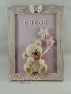 Baby Shower Presents, Baby Shower Gifts, Baby Gifts, Picture Frame Crafts, Picture Boxes, Moldes Para Baby Shower, Felt Wall Hanging, Baby Deco, Pastel Decor