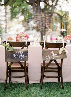 """So pretty. Love the rustic chic """"mr."""" and """"mrs."""" signs on the chairs. Would go great with our barn board flooring, farm top tables and vintage, mismatched china."""