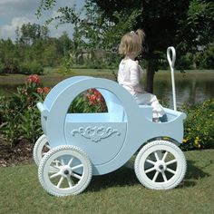 Sleeping Beauty Blue Princess Wagon I can just see my Princess Johnna on this. Cinderella Carriage, Cinderella Party, Cinderella Coach, Princess Carriage, Little Presents, Baby Furniture, Outdoor Fun, Little Princess, Future Baby