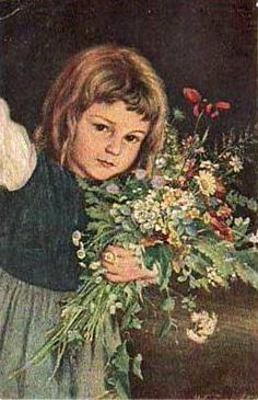 """""""Young Girl With Flowers"""" ... by Marie (Mizzi) Wunsch  1862 – 1898, German"""