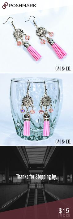 "🍁🆕 Tassel Earrings 🍁🆕 Tassel Earrings Faux Leather Tassels.  Colored, Crystal beads.  Silver Tone Hardware.  Size: 3.25""  Super cute, girlie Pink tassels look very cool with the silver detailing! On trend. Stylish. Fashion Jewelry.   **Price Firm unless bundled.   Thank you for stopping by my closet! Please let me know if you have any questions or if I may assist you! 🍁GM Jewelry Earrings"