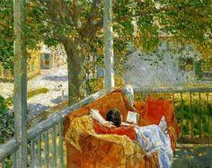 """Frederick Childe Hassam (USA, 1859-1935) """"Il divano sulla veranda"""" 1914 Collezione privata #readingwoman"""