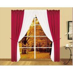 6pc Palmer Window in a Bag Curtain Set - Burgundy