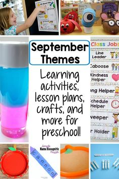 Themes perfect for teaching preschool this September! Find popular themes like all about me, alphabet, fall, and more, along with great learning activities to accompany each! There are also done-for-you lesson plans included. September Preschool Themes, Fall Preschool, Preschool Lesson Plans, Kindergarten Learning, Preschool Learning Activities, Preschool Alphabet, Teaching, Community Helpers Lesson Plan, Pre Writing