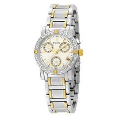 Bulova Women's 98R98 Diamond Chronograph Watch Bulova. $299.00. Stainless-steel case; white dial; date function; chronograph functions. Quality Japanese-quartz movement. Save 48%!