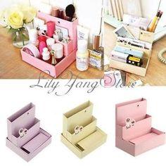 1Pc DIY Paper Board Storage Box Desk Decor Organizer Stationery Makeup Cosmetic