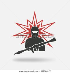 terrorist with grenade launcher. vector illustration - eps 10 - stock vector