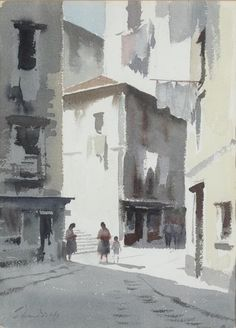 Portugal - Back Streets, Lisbon - Edward Seago - Portland Gallery Watercolor Architecture, Watercolor Landscape, Landscape Art, Landscape Paintings, Watercolor Pictures, Watercolor Artists, Watercolour Painting, Watercolours, Watercolor City