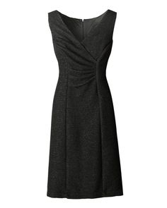 Great neckline, great pleats, love that the skirt skims the body. Just wish it had sleeves. Crinkled V-neck dress