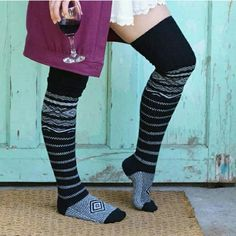 AVAILABLE! SCANDINAVIAN THIGH HIGHS IN BLACK Warm for winter to wear with skirts, shorts, boots, leggings, or even leg warmers. Could also wear under pant in cold cold weather. Black and white. Peony and Moss Accessories