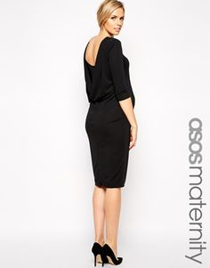 Enlarge ASOS Maternity Bodycon Dress with Cowl Back and Long Sleeve