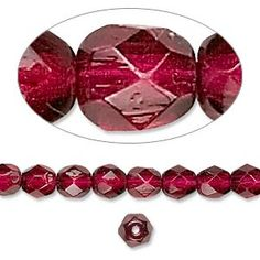 Bead, Czech fire-polished dipped décor glass, garnet red, 6mm faceted round. Sold per 16-inch strand, approximately 65 beads.