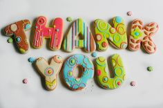 'Thank you' lettering cookies - such a cute idea! #thankyou #kindness