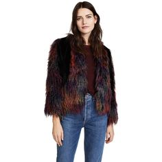 Anna Sui Rainbow Mongolian Faux Fur Jacket (135.485 HUF) ❤ liked on Polyvore featuring outerwear, jackets, black multi, rainbow jacket, faux fur jacket, faux fur lined jacket, fleece-lined jackets and fake fur jacket