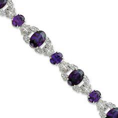 Sterling Silver 7.25 Inch Purple & Clear CZ Vintage Style Bracelet