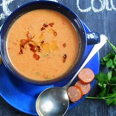 A quick soup recipe with chorizo and coriander.