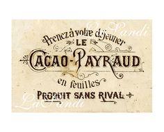 """♥ Bügelbild ♥ Vintage ♥ """"Cacao Payraud"""" ♥ sepia"""