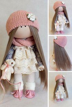 Fabric doll Handmade doll Puppen Interior doll Soft doll Textile doll Tilda doll Bonita Rag doll Art doll Coral doll Cloth doll by Oksana G