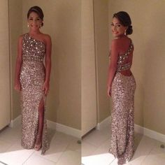 Wholesale 2014 Prom Dresses - Buy Sparkly Glitter Prom Dresses Sequin Long 2014 Sexy One Shoulder Crystal Sequin Backless Front Slit Evening Dresses Floor Length,